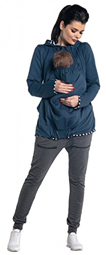 Zeta Ville - Damen Sweatshirt mit Kapuze Schwangerschafts Babytragens - 495c Blau Jeans