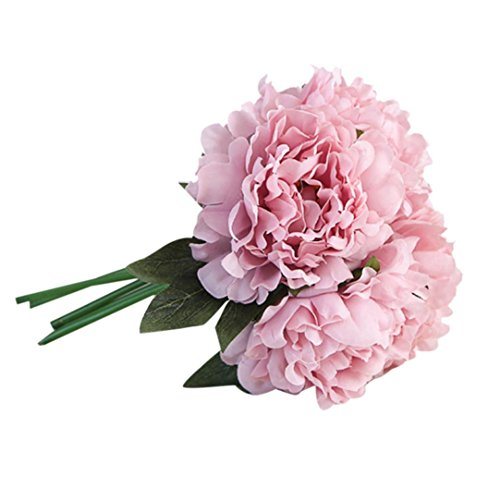 OverDose Kunstseide Fake Flowers Peony Floral Wedding Bouquet Braut Hydrangea Dekor Artificial Silk Fake Flowers Peony Floral Wedding Bouquet Bridal Hydrangea Decor (Lila, 1*bündeln) - Lila Silk Bouquet Flower