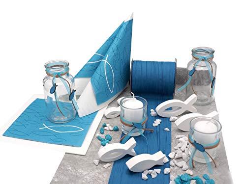 ZauberDeko Tischdeko Kommunion Konfirmation Petrol Blau Grau Weiß Fisch Set 20 Personen Isaak