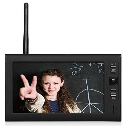 BearHoHo 602E14 7 inch TFT Digital 2.4G Wireless Cameras Audio Video Baby Monitors 4CH Quad DVR Security System With IR night light Cameras Support SD Card (1V4E)