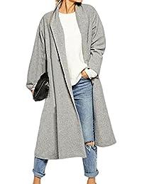 Tongshi Capa de las mujeres frente abierto de foso larga capa chaquetas de abrigo Cascada Cardigan