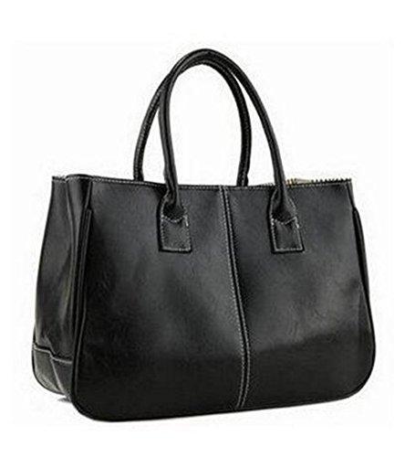 Frauen-Beutel-PU-Leder-Frauen-Handtaschen-Handgriff-Taschen-Tote-Frauen-Schulter-Kurier-Tasche LL423 Black 30cm*Max Length*50cm -