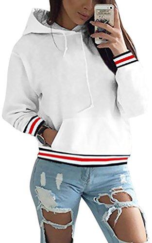 Tomwell Herbst Damen Mode Gestreift Lange Ärmel Pulli Hoodies Pullover mit Tunnelzug Sweatshirt mit Kapuze Kapuzenjacke Top Jacke Weiß DE (Stiefel Bandit Schwarz)