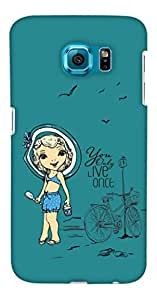 PrintHaat Designer Back Case Cover for Samsung Galaxy S6 G920I :: Samsung Galaxy S6 G9200 G9208 G9208/Ss G9209 G920A G920F G920Fd G920S G920T (you only live once :: live life to the fullest :: cycle standing by the pole :: girl at beach :: girl wearing beach wear with a travel hat :: in blue, sea green and black)