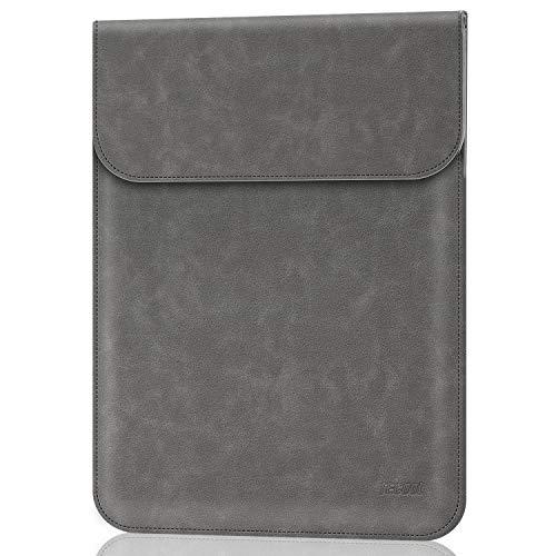 TECOOL 13 Zoll Laptop Hülle Tasche, Faux Wildleder Leder Schutzhülle für MacBook Air/Pro 13, 13-13.3 Inch Dell XPS, ASUS ZenBook, HP Envy x360, Huawei MateBook, Grau Slim Notebook Case