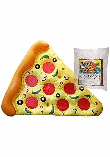 Tante Tina - Aufblasbares Pizza Stück - Luftmatratze - Badeinsel - Schwimmring - Schwimmreifen - Gelb/Rosa/Braun - 160*180 cm