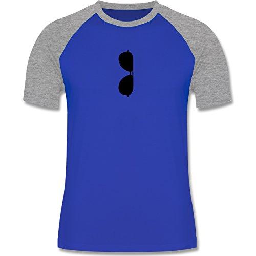 Hipster - Brille Kragen - zweifarbiges Baseballshirt für Männer Royalblau/Grau meliert