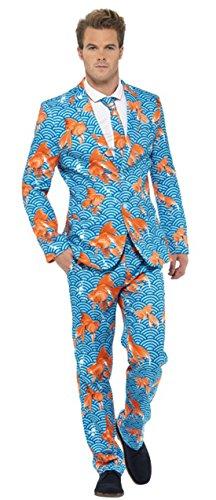 Confettery - Herren Herren Goldfisch Unterwasser Meeres Optik Anzug mit Jacke, Hose und Krawatte, XL, Mehrfarbig