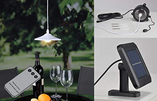 Kamaca LED Solar Hängelampe mit Fernbedienung Hängende Lampe Solar Pendellampe mit Solarpanel und Dämmerungssensor (LED Solar Hängeleuchte mit Fernbedienung) (Solar-outdoor-hängelampen)