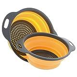 2Küche zusammenklappbar Silikon Sieb/Sieb, yihome 2Größen 9,7und 29,2cm - Orange