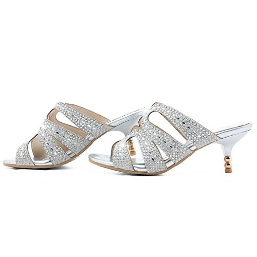 COOLCEPT Femme Mode Peep Toe Sandales Mules Kitten Talon A Enfiler Brillant Soiree Argent