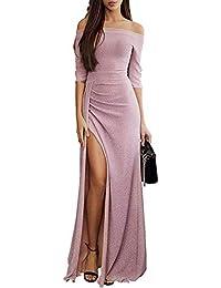 7d39fecd390888 Dearlove Damen Off Shoulder Kleider für Hochzeit Elegant Maxikleider  Glänzend Hoch Geschnitten Abendkleider