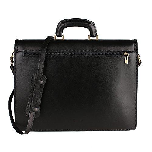 Unisex Aktentasche, Business Handtasche mit Schulterriemen, Laptophalter, aus echtem Leder Made in Italy Chicca Borse 39x30x17 Cm Schwarz