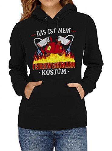 m Feuerwehrmann Premium Hoody | Verkleidung | Karneval Hoodies | Fasching | Frauen | Kapuzenpullover, Farbe:Schwarz;Größe:S (Günstige Feuerwehrmann Kostüm Ideen)