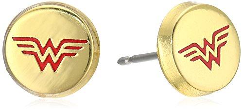 Wonder Woman Logo Gold Plated Stainless Steel Stud Earrings