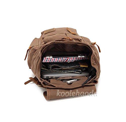 Imagen de koolehaoda vintage canvas bolsos/  viajes senderismo camping  senderismo bolsa de viaje laptop  bolso  escolar para outdoor sports tiempo libre, caqui  alternativa