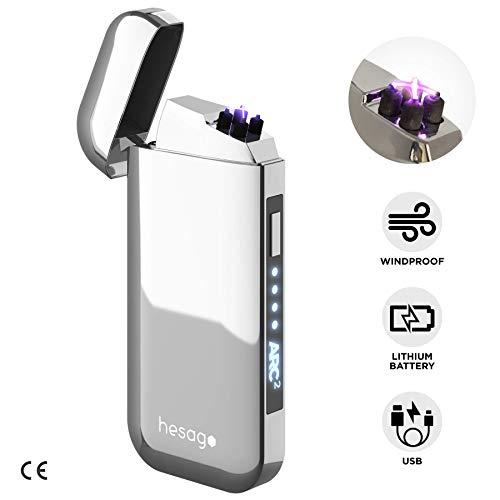 Hesago Arc² - Accendino Elettrico Ricaricabile USB al Plasma Doppio Arco e Antivento - 2ª Generazione - Elegante in Confezione Regalo (Cromato)