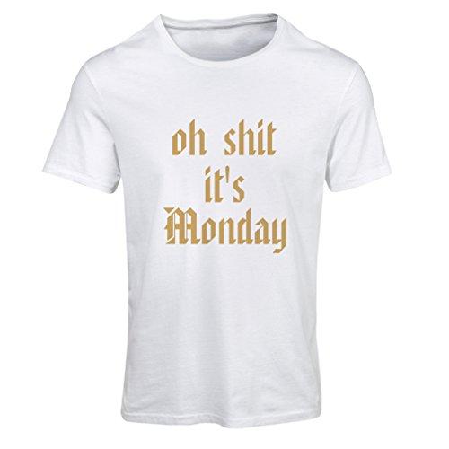 T-shirt femme Oh merde ce est lundi! T-shirt Blanc Or