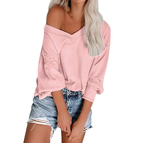 DOFENG Damen T Shirt Bluse Sweatshirt Damen Lange Ärmel Mode Locker Stricken Volltonfarbe Schulterfrei Lässig V Hals Pullover Oberteil Tops (Rosa, Large)