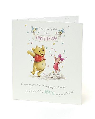 Glückwunschkarte zur Taufe, Motiv: Winnie Puuh und Ferkel, ideales Geschenk zur Taufe, Disney