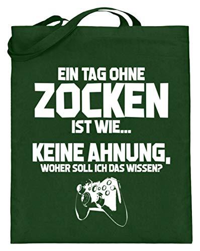shirt-o-magic Gamer: Tag ohne Zocken? Unmöglich! - Jutebeutel (mit langen Henkeln) -38cm-42cm-Grün -