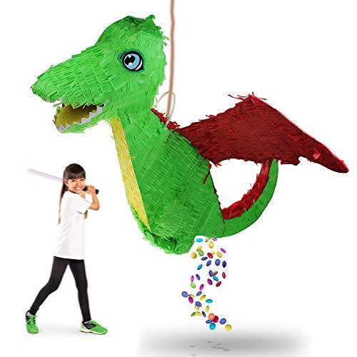 inata zum Zerschlagen, Pappfigur Drache zum Befüllen mit Süßigkeiten und Konfetti für Geburtstage, Partyspiel, Kindergeburtstag Überraschung, Pinata für Kinder, Grün ()
