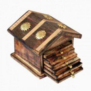 India Big Shop Holz Handgefertigte Hütte Geformte Holz Tee Coaster - Set von 6 Getränk Coster Geeignet für Whisky Gläser und alle heißen und kalten Getränken 4 Zoll -