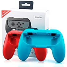 Lammcou Nintendo Switch Mando Kit Controlador de Joy-con para Mario Kart,Super Mario Odyssey- [2 Paquetes] Handle Kits para Nintendo Switch Controlador,Rojo & Azul(2-pack,Red and Blue)