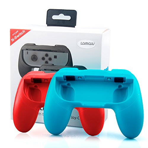 Lammcou Impugnatura Nintendo Switch Grip compatibile con i Joy-Con del Nintendo Switch per Mario Kart ,Super Mario Odyssey, Street Fighter 2, Just Dance 2018,Fifa 18 per2 Set Custodia Joystick Nintendo Ergonomica In Resina ABS Protezione Urti, Graffi con Pulsanti SL/SR per Gioco Accessori Nintendo Switch Joy-Con, Rosso + Blu (2-pack,Red and Blue)