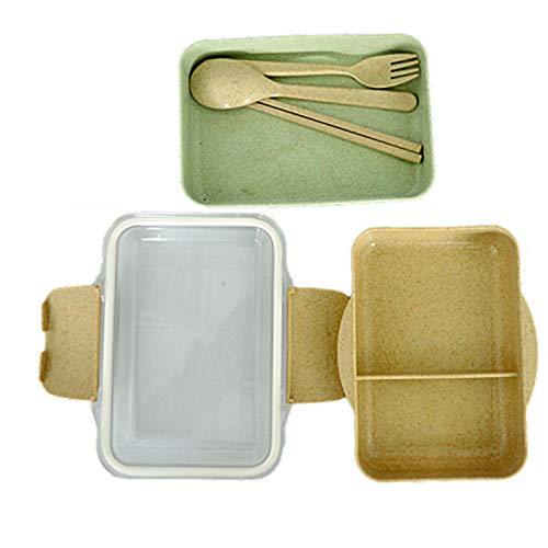 chenqian1 Bento Box 2-Schicht-Lunchbox Besteck Weizenstroh Lunchbox Gesundheitsmaterial Mikrowelle Geschirr Lebensmittel Aufbewahrungsbox Lunchbox