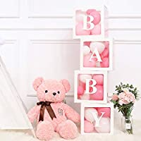 """Party Decorations Cube Box Kit - 4Pcs White Transparent Cube Party Supplies including """"LOVE"""" """"BABY"""" Letters for Girl Boy for Party Supply Decoration/Birthday/Baby Shower/Wedding/Marriage/Anniversary"""