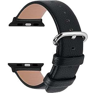Fullmosa Compatibile Cinturino per Apple Watch 38mm/40mm e 42mm/44mm,15 Colori Yan Pelle Cinturino/Cinturini di Ricambio per Apple Watch,Cinturino per iWatch Series 4,3,2,1, Uomo e Donna, Nero