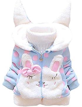 Tkiames Baby Mädchen Mäntel -Jacken, Kapuzenjacke für Kaninchen Fleecefutter mit Bowknot Gefüttert Jacket 0-4...