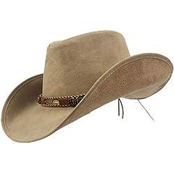 CSNMALL 2018 Más Reciente Sombrero De Vaquero Occidental Cuero Estilo Vintage De ala Ancha Unisexo Gorra (Color : Natural, tamaño : 57-59)