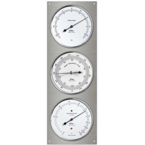 Fischer 829-01 Außenwetterstation aus Edelstahl, Thermometer-Barometer-Echthaar Hygrometer, 430 x 150 mm