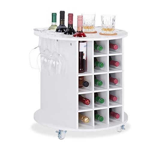 Relaxdays Weinregal auf 360° drehbaren Rollen, 6 Glashalter, Weinaufbewahrung für 17 Flaschen, rund, HxD: 56x54cm, weiß