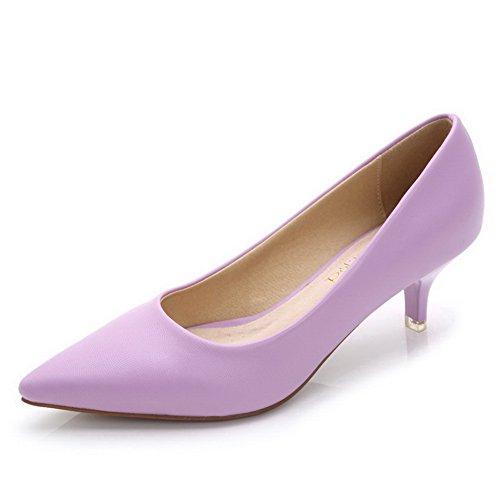 AalarDom Femme Couleur Unie à Talon Correct Tire Pointu Chaussures Légeres Violet-Pu Cuir