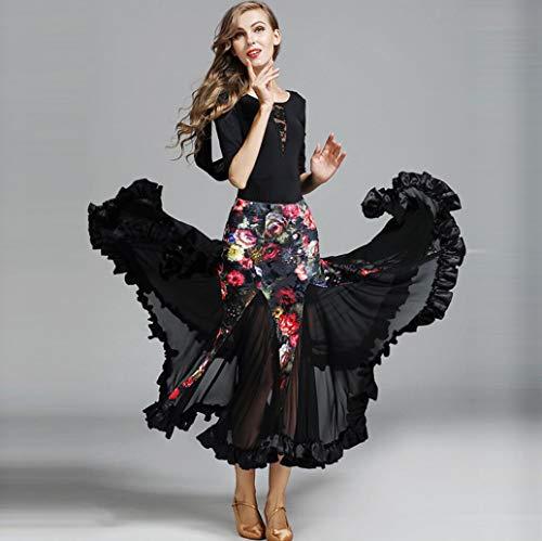 Kostüm Velvet Nylon - Z&X Modern Dance Dress für Frauen große Pendulum Rock Ballroom Kostümwettbewerb Tops Nylon Silk/Lace, Rock Velvet/40D Brocade Mesh,XL
