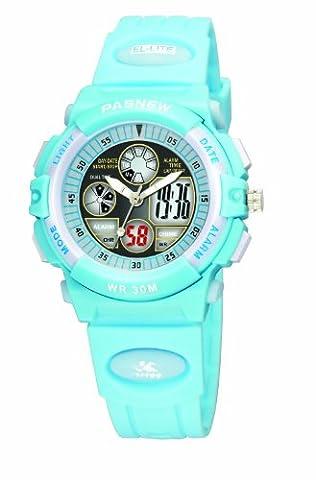 30m Water-proof Digital-analog Boys Girls Sport Digital Watch with Alarm Stopwatch Chronograph (Child) 6 Colors (Light blue)