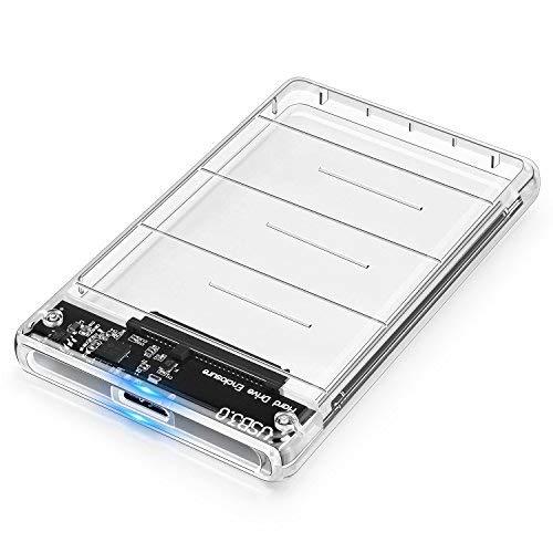 POSUGEAR Festplattengehäuse 2.5 Zoll USB 3.0, Externes festplatten Gehäuse für 9.5mm 7mm 2.5 Zoll SATA SSD HDD mit USB3.0 Kabel, Werkzeugfreie Montage, UASP Beschleunigung [Transparent]