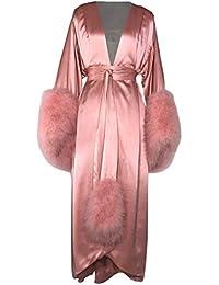 0bd05a938920b0 ShineGown Damen Robe Fell Nachthemd Bademantel Nachtwäsche Feder Braut  Morgenmäntel mit Gürtel Extra Lange