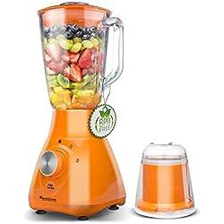 Blender, Mixeur 2en1 800W avec récipient verre 1,5 L couteau 4 lames en acier inoxydable, adapté pour smoothies, glace pilée, etc (Orange)