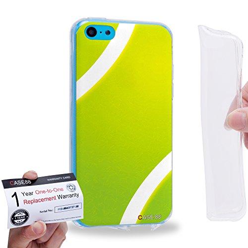 Case88 [Apple iPhone 5C] Gel TPU Hülle / Schutzhülle & Garantiekarte - Art Sports Tennis Ball 1236 -