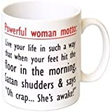 """Powerful Woman Motto"" Funny Motivation Gift Mug - MugsnKisses Collection."