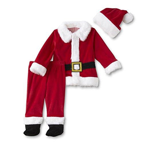 hnachten Nikolaus Santa Outfit Samt Jacke Hose + Mütze (62-68) ()