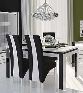 Table de salle à manger design rectangulaire INDRO coloris blanc + noir laqué high gloss L160 x P90 x H78 cm