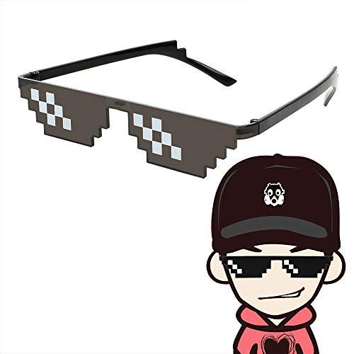3/6 Bit MLG Pixelated Sonnenbrille Mosaic Vintage Eyewear Motocross Bike Racing Brille Motorrad Sonnenbrille UV-Schutz (B)