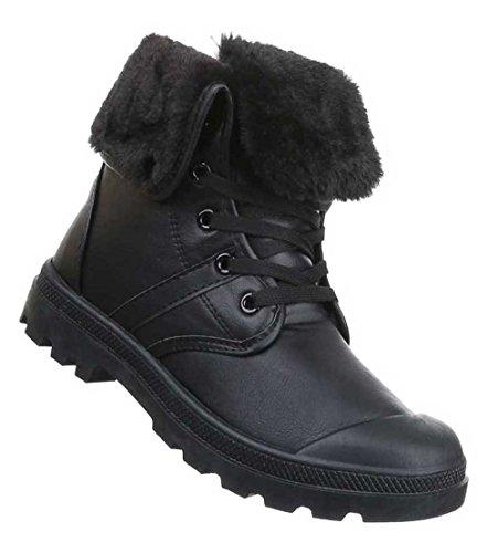 Damen Stiefeletten Schuhe Warm Gefütterte Schwarz Schwarz