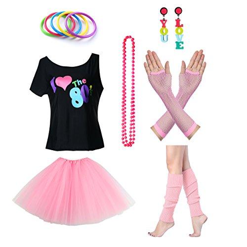 amen I Love The 80er Jahre T-Shirt 80er Jahre Outfit Zubehör (80er Jahre Girl Kostüme Halloween)