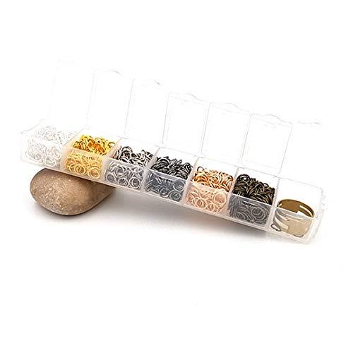 Creafirm Boite de 1200 Anneaux de Jonction Multicolores 6mm et Bague de Réglage